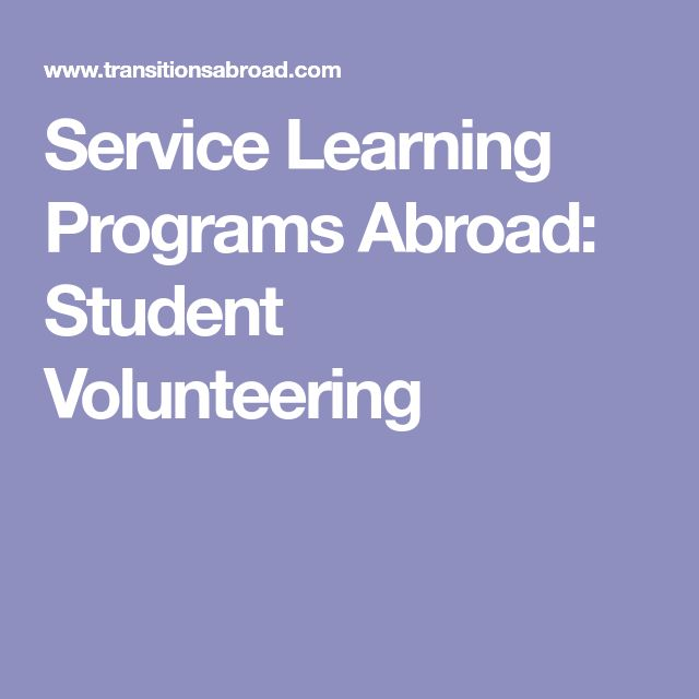 Service Learning Programs Abroad: Student Volunteering