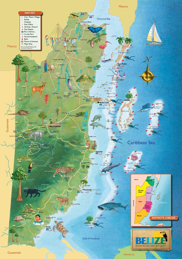 Large detailed tourist map of Belize. Belize large detailed tourist map | Vidiani.com | Maps of all countries in one place