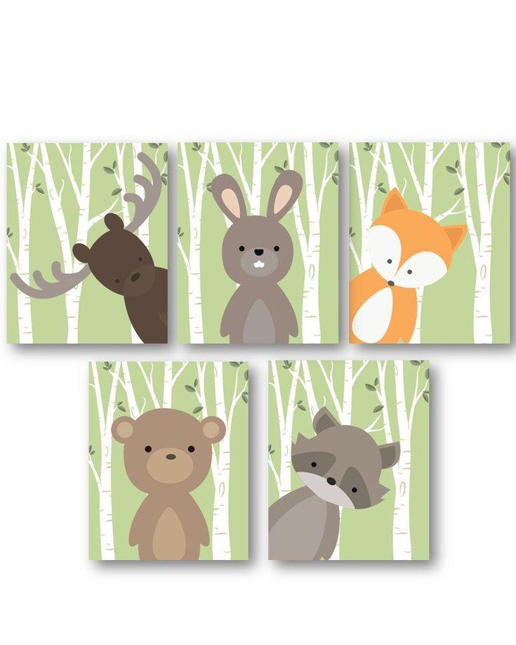 Woodland Kinderzimmer Dekor – Woodland Kinderzimmer Kunst – Baby Boy Dekor – Waldtiere Kinderzimmer – Tier Kinderzimmer – Tier Wandkunst – Drucke nur