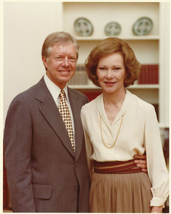 President Jimmy Carter, 39th President of the United States (1977–1981) and First Lady Rosalynn Carter.  Rosalynn Carter first dated Jimmy in 1945 while he was serving at the United States Naval Academy at Annapolis. On July 7, 1946, they married in Plains, GA.