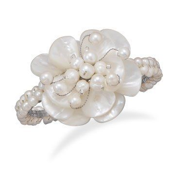 Cultured Freshwater Pearl Fashion Cuff with Shell Flower Jewelry Dreamer. $28.50. Save 37%!