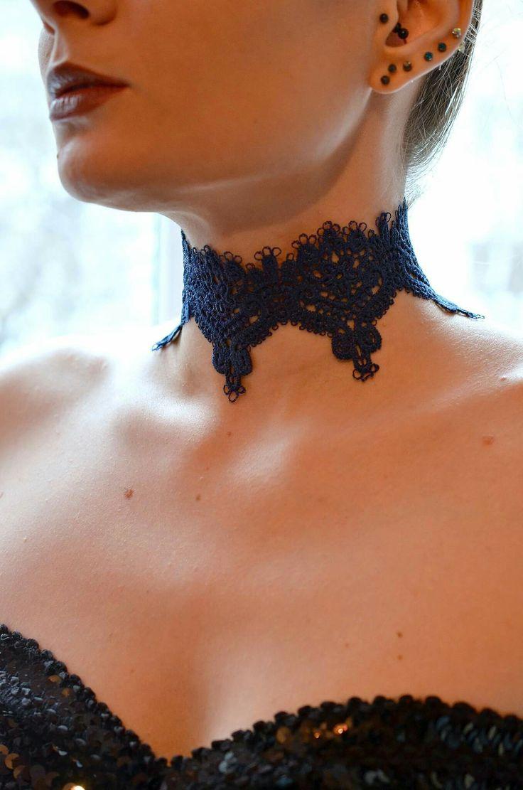 Royal Blue Lace Choker