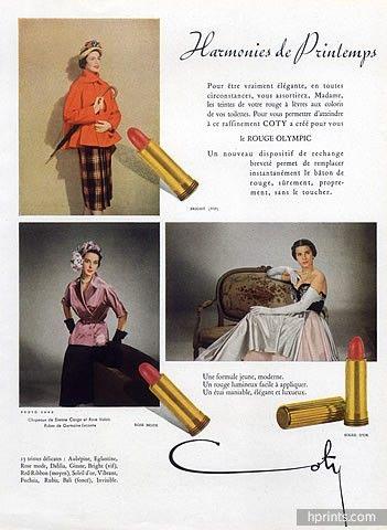 Coty (Cosmetics) 1950 Lipstick, Dresses Germaine Lecomte