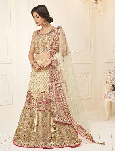 bd766a1d2a06ff Cream Silk Wedding Wear Dressy Lehenga Choli, Latest designer Lehenga choli  for wedding, Designer lehenga choli, designer lehenga for bride, latest  design ...