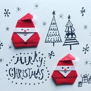 ウチの家にもサンタさんくるかな-? #サンタクロース #クリスマス #おりがみ #まってるよ #丸シール #santa #merryxmas #christmas #origami #illustration #papercraft