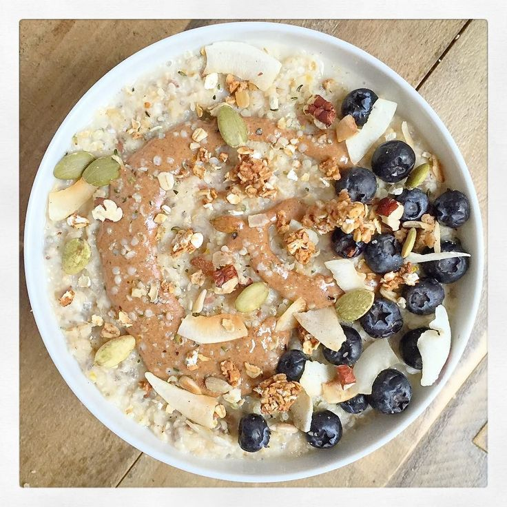 Breakfast this morning was so good! Porridge with almond milk almond butter granola and blueberries  by deliciouslyella