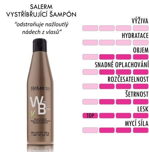 Salerm šampón na bílé vlasy ze Zlaté řady vylučuje nažloutlý tón šedivých, bílých a stříbrných vlasů. Speciální fialový vystříbřující šampón Salerm na bílé vlasy čistí vlasy a chrání jejich barvu před žlutým nádechem. Šampón je oibohacen o výtažky z bambusu, které napomáhají vlasy hydratovat a dodává vlasům i vlasové pokožce osvěžující  pocity. Šampón neobsahuje silikony.