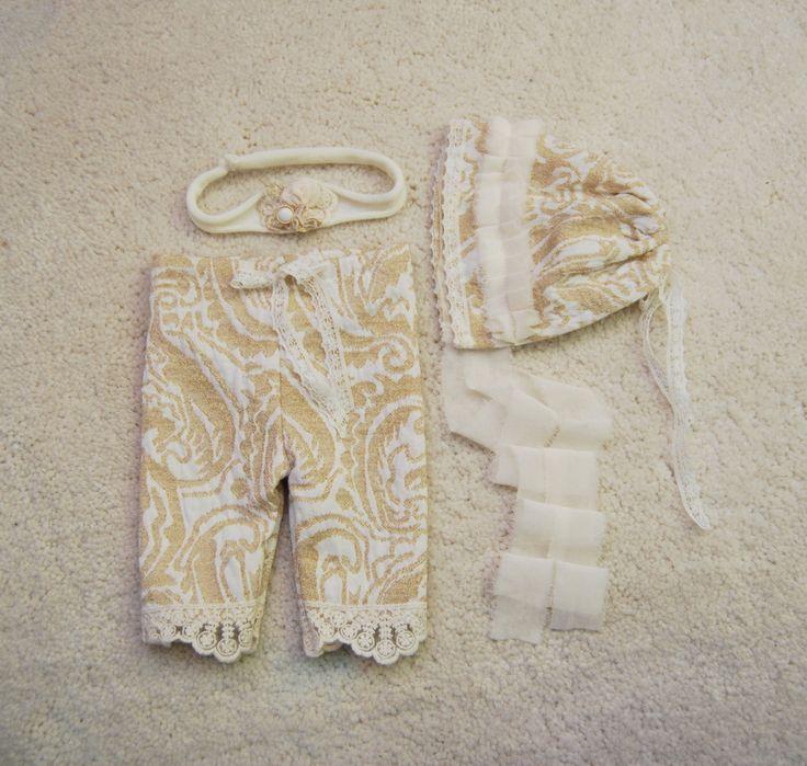 Newborn Girl Set; Newborn Set Prop: Newborn Pants, Newborn Bonnet; Newborn Headband; Pants Prop; Bonnet Prop; Headband Prop; Photo Prop by LovelyBabyPhotoProps on Etsy