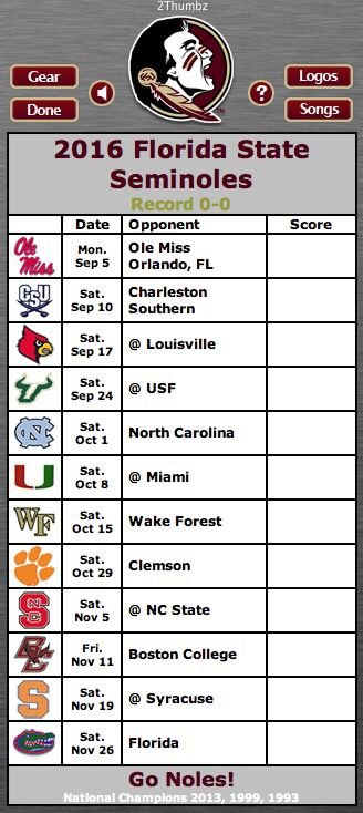 2016 FLORIDA STATE SEMINOLES | Football Schedule