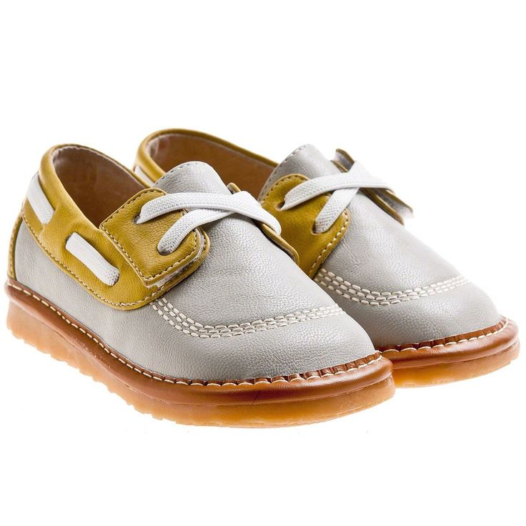 Boys Toddler Childrens Faux Leather Squeaky Shoes - Grey & Yellow - Wide Fit #LittleBlueLamb #CasualShoes