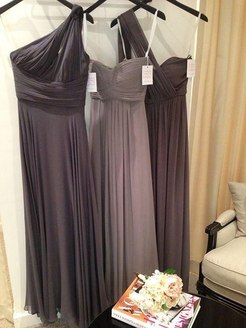 Bridesmaid Dress. Long silk chiffon gown. Draped shades of gray.