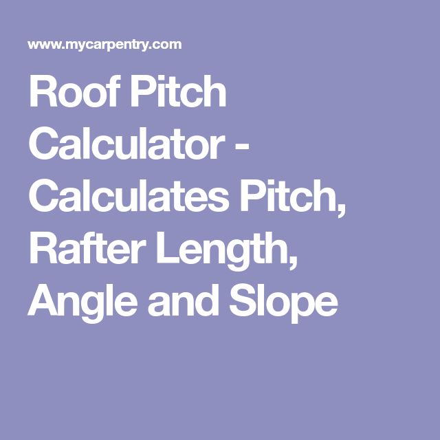 Roof Pitch Calculator Calculates Pitch Rafter Length Angle And Slope Pitched Roof Rafter Roof