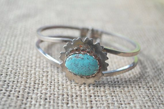 Vintage Silver Turqouise Stone Hinged Bracelet by talkOfThetown, $22.00