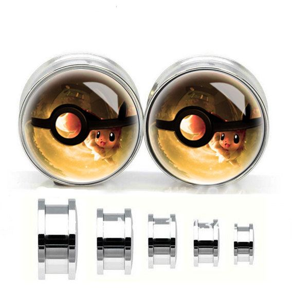 Pokemon Ball ear plugs ,flash tunnel,Stainless steel  ear plugs,tapers and plugs,metal ear gauges,egauge earrings on Etsy, $12.99