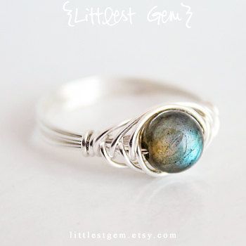Labradorite Ring, Sterling Silver, wire wrapped ring, wire wrapped jewelry handmade, unique rings, custom size