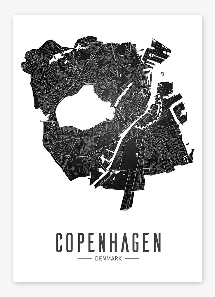 Copenhagen map poster - free download. Poster to print.