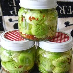 "Zesty Pickled Brussels Sprouts | ""Pickled Brussels sprouts that stay crunchy and are slightly spicy."""