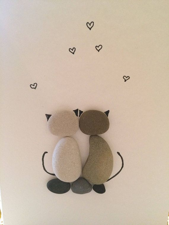 Greeting card with Cats, Cat lover Gift idea, Two Cats, Couple Cats, Love cats, Love Gift, Pebble ar