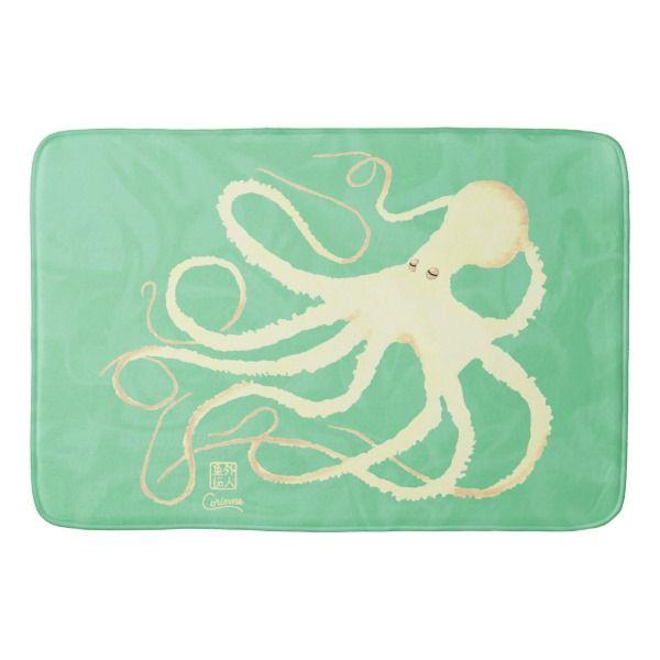 Cream Octopus On Mint Large Bath Mat Zazzle Com With Images
