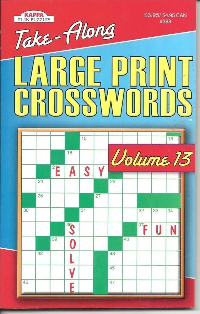KAPPA TAKE ALONG LARGE PRINT CROSSWORDS FUN PUZZLE BOOK VOLUME 13 NEW