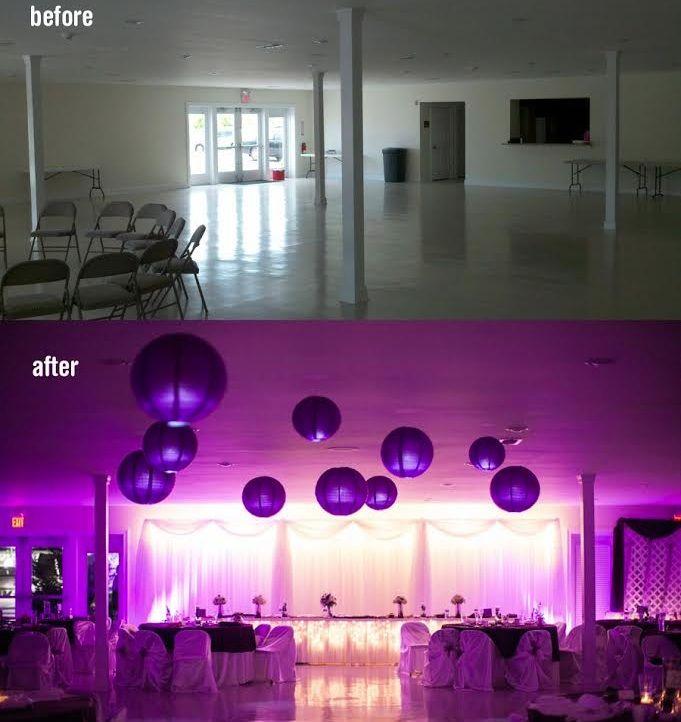 Look at how DIY Uplighting can transform a wedding reception room from blah to wow!!! #diyuplighting #weddinglights