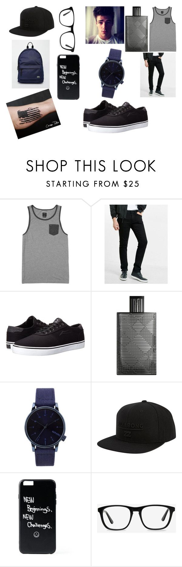 """Wesley"" by benhemmings on Polyvore featuring RVCA, Express, Lakai, Burberry, Komono, Billabong, Ace, Lacoste, men's fashion and menswear"