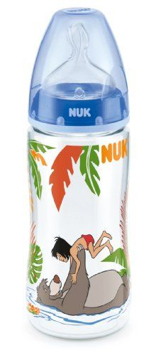 NUK First Choice+ Disney Jungle Book Baby Bottle 300 ml with Silicone Teat / BPA Free / Blue