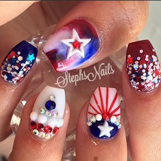 4th of july nail art step by step