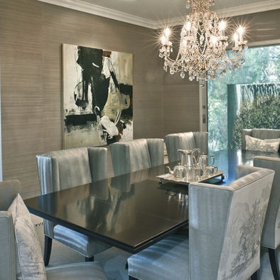 Metallic grasscloth faux finish design pictures remodel - Modern dining room wall decor ...
