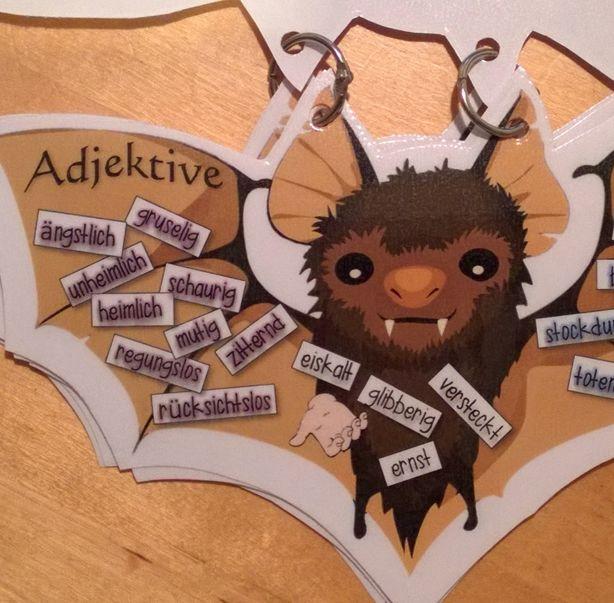 Wortschatzarbeit zum Erzählen der Themeneinheit Gruselgeschichten. Diese kleine Fledermaus hilft allen, die ihre Sprache noch verbessern wollen.