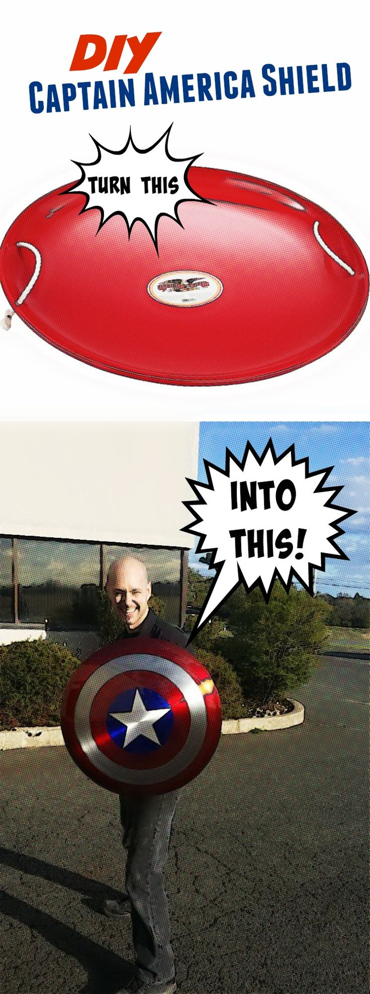 Make your own Captain America Shield using this 26 inch steel saucer sled!