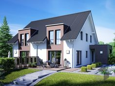 Gemello SD 136 von Büdenbender  Wohnfläche gesamt95,81 m² Zimmeranzahl5  Doppelhaus, Zweifamilienhaus, Haustypen, Barrierefrei, Hausbau, Luxushaus, Familienhaus  www.fertighaus.de