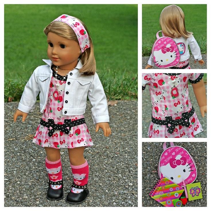 American Girl Doll Hello Kitty Back To School Dress