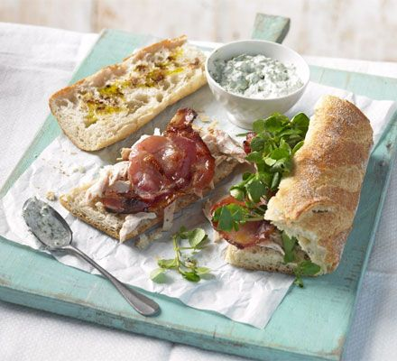"Chicken, bacon & watercress baguettes. Delicious. I use ""streaky"" bacon aka American bacon :) You can use sour cream for the spread, or I've even made a kind of aioli instead with olive oil mayo."