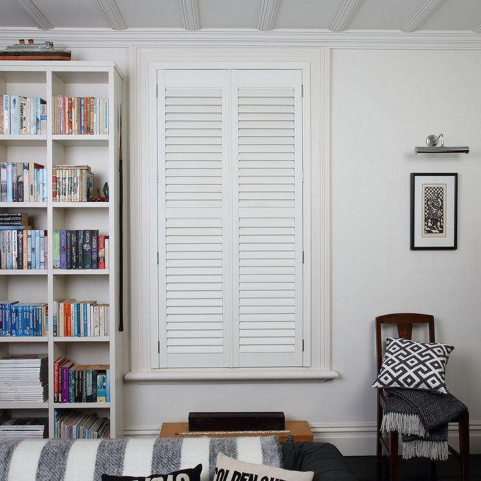 Shutters are ultimate in mimimal window coverings - clean lines and custom fit to your windows, they serve the dual purposes of providing sun filtering and insulation.