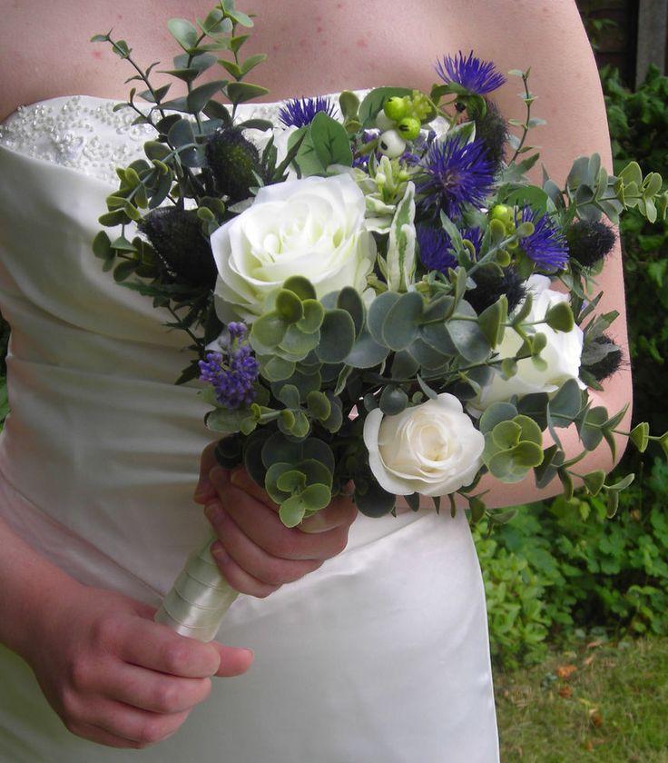 Scottish Gretna Green Thistle Brides Bridesmaid Bouquet Flowers Pomander Wedding
