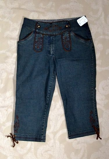 Ladies denim knickers/ lederhosen with embroidery detail.