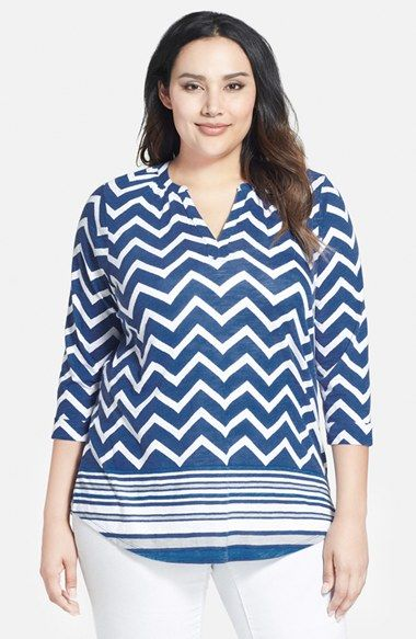 Lucky Brand Chevron Stripe Split Neck Top (Plus Size) available at #Nordstrom