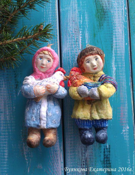 """Коллекционные куклы ручной работы. Ярмарка Мастеров - ручная работа. Купить Ватные ёлочные игрушки """" Петушок и курочка"""". Handmade."""