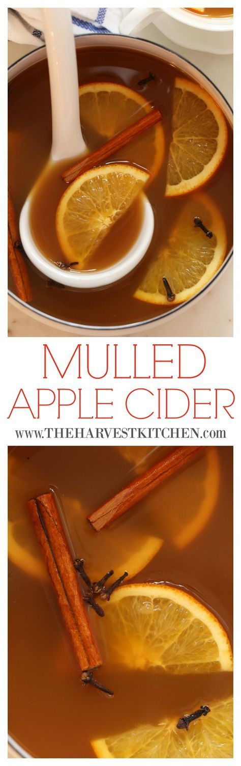 This Mulled Apple Cider is made with fresh apple juice and has delicate hints of orange, cinnamon, cloves and ginger. It is warm and cozy and will make your house smell incredible as it simmers on your stovetop. @theharvestkitchen.com