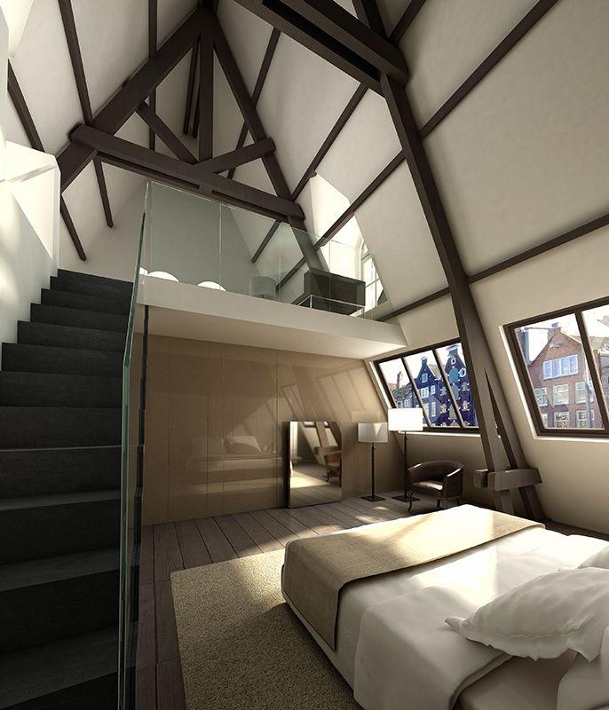 Hotelkamer met vide in Conservatoriumhotel. In deze hoge hotelkamer is gebruik gemaakt van een vide. Zo maak je optimaal gebruik van de ruimte. Door in de ruimte gebruik te maken van één kleur in verschillende nuances, creëer je een rustige uitstraling. Door op het bed veel kussens en beddengoed te gebruiken, geef je de kamer die luxe hotelsfeer. Designhotels