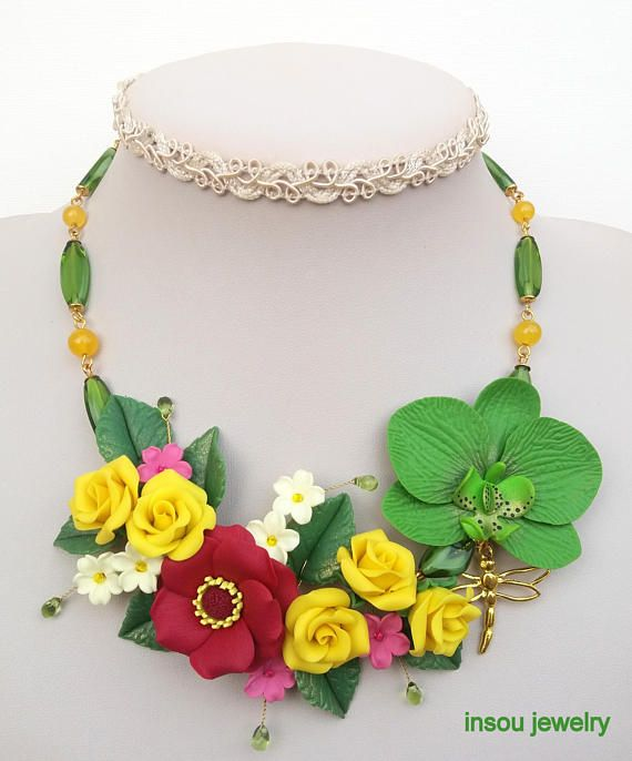 Flower Necklace, Statement Necklace, Floral Jewelry, Handmade Necklace, Gift For Women, Jade Jewelry, Colourful Necklace, Orchid Jewelry
