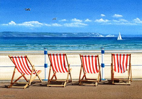 A painting of four red deck chairs on the seafront at Weymouth, Dorset by Margaret Heath.
