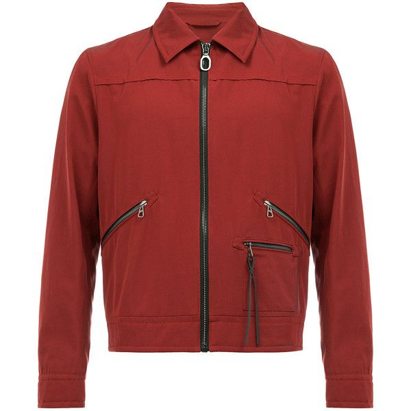 Lanvin zipped bomber jacket (1,193 CAD) ❤ liked on Polyvore featuring men's fashion, men's clothing, men's outerwear, men's jackets, red, mens red jacket, mens leather bomber jacket, mens zip jacket, mens red leather jacket and mens zipper jacket