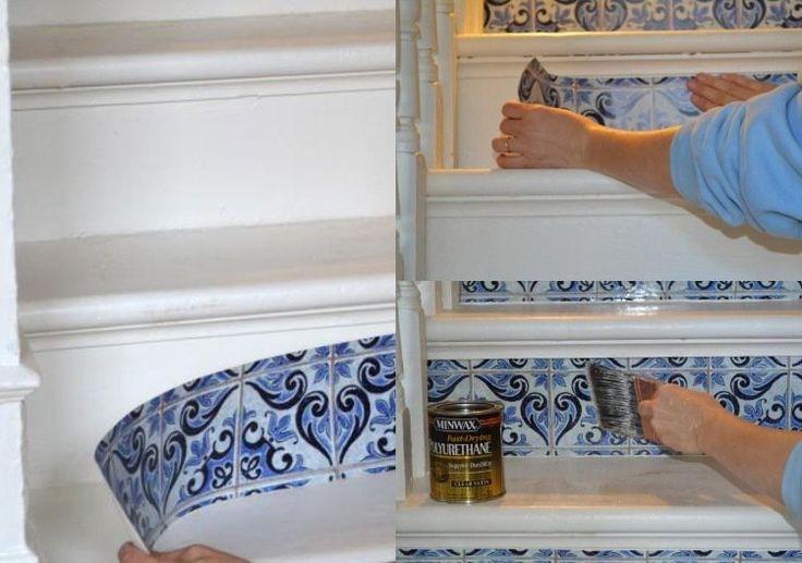 17 meilleures id es propos de contremarches peintes sur. Black Bedroom Furniture Sets. Home Design Ideas