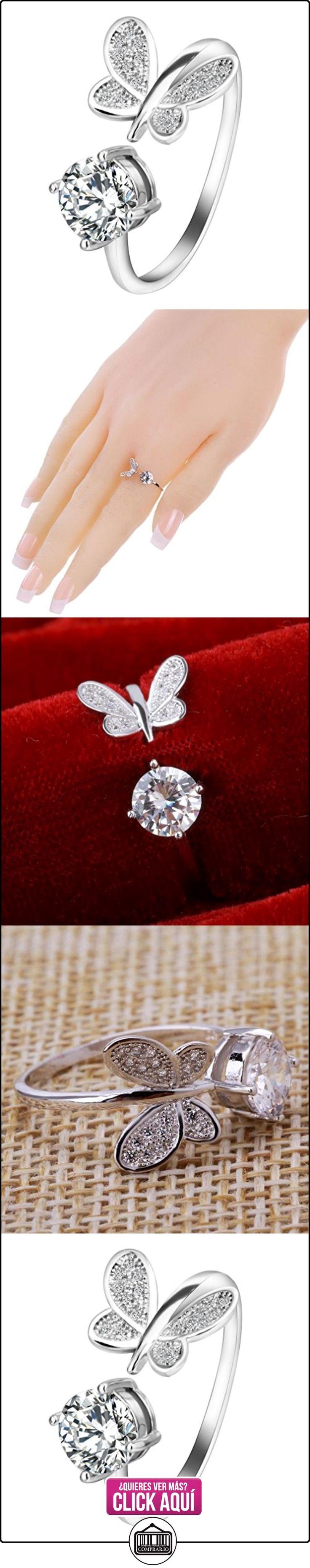 Yazilín clásico 925 de plata esterlina sólida mariposa redonda anillo de apertura ajustable anillo de apertura  ✿ Joyas para mujer - Las mejores ofertas ✿ ▬► Ver oferta: https://comprar.io/goto/B01MYTG998