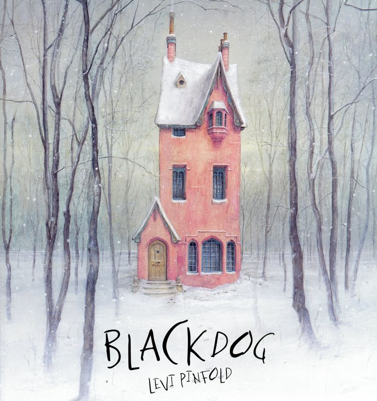 """Black Dog"", by Levi Pinfold.  A black dog appears outside the Hope family's home. As each member of the household sees it and hides, the dog grows bigger and bigger. Only Small, the youngest Hope, has the courage to face the black dog."