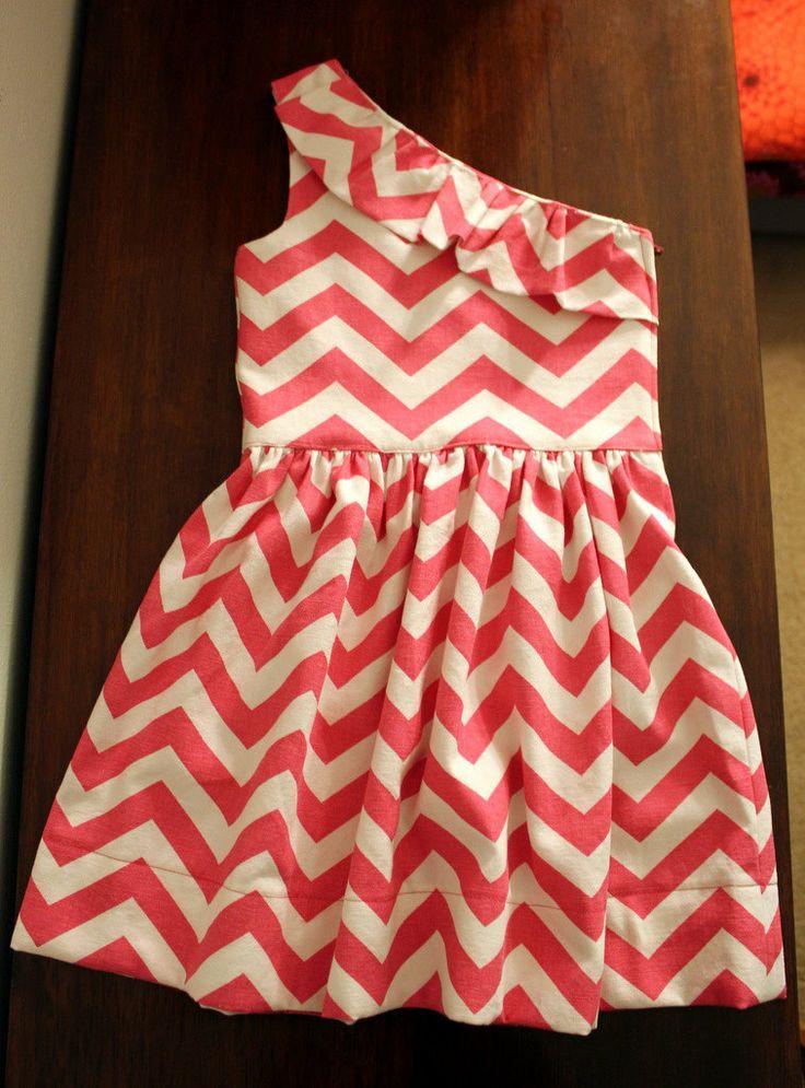 I like it.: Chevron Patterns, Little Girls, Summer Dresses, Chevron Dresses, One Shoulder Dresses, Pink Chevron, Chevron Strips, Chevron Stripes, Coral Chevron