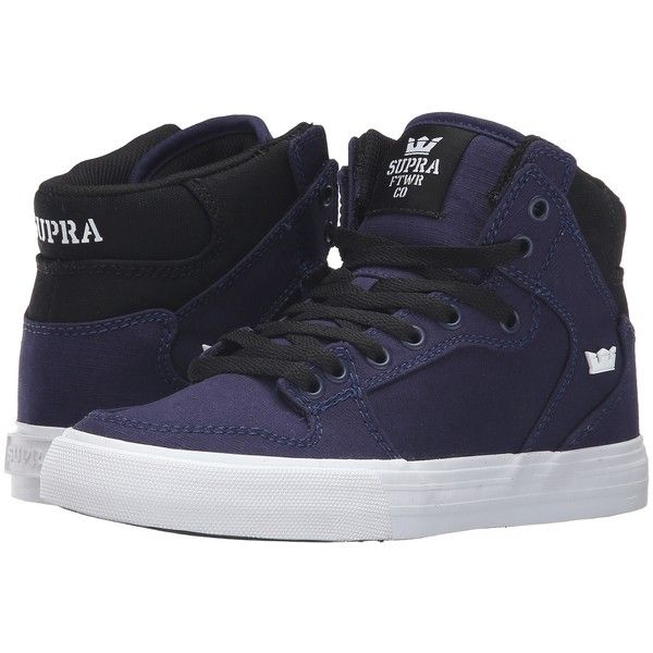 Supra Vaider (Navy/Black/White) Women's Skate Shoes ($48) ❤ liked on Polyvore featuring shoes, navy, high top leather shoes, platform shoes, supra shoes, navy leather shoes and supra high tops