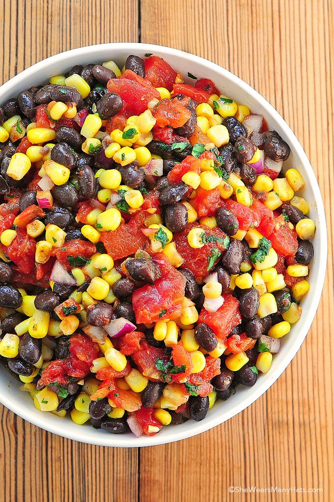 Black Bean Corn Salsa Recipe is a hearty yet light salsa that pairs well with fluffy and crunchy Rudolph Foods pork rinds! #NationalSalsaMonth